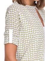 Wzorzysta żółta koszula o kroju narzutki