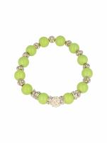 Zielona Bransoletka koralikowa z kulką schamballa