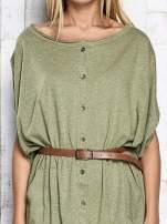 Zielona melanżowa sukienka oversize z guzikami