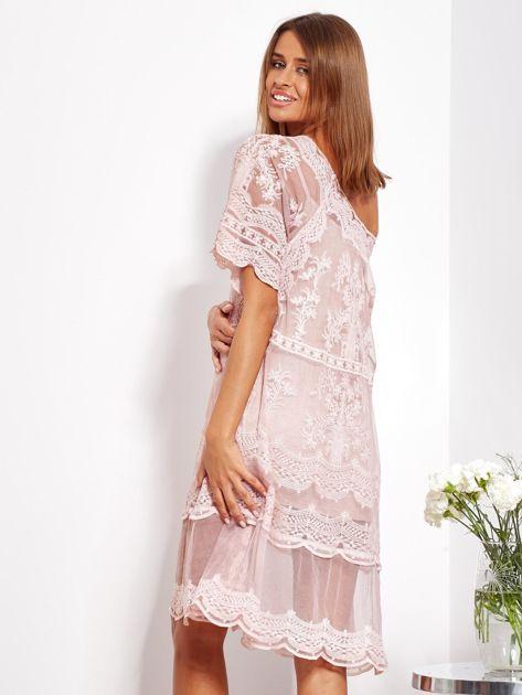 Pudroworóżowa luźna sukienka z oddzielną halką                              zdj.                              6