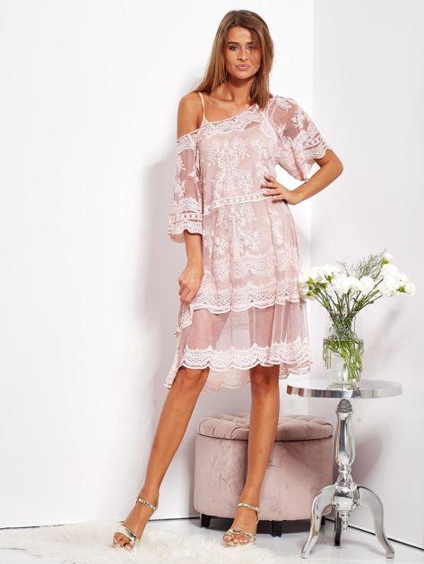 Pudroworóżowa luźna sukienka z oddzielną halką                              zdj.                              4