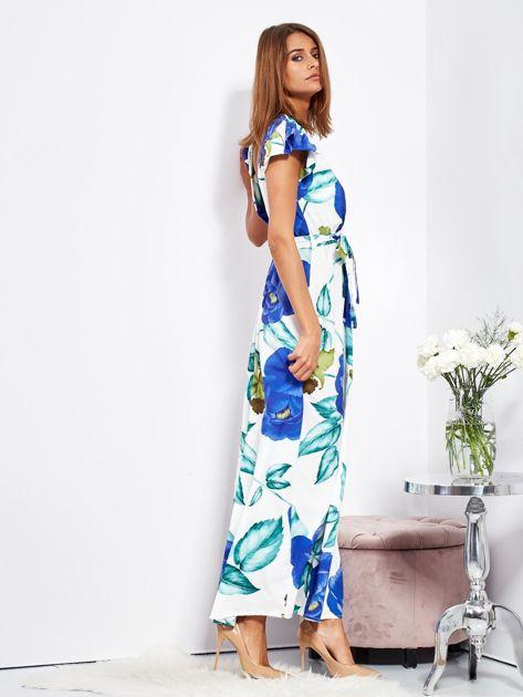 SCANDEZZA Biało-niebieska długa sukienka w kwiaty                              zdj.                              7