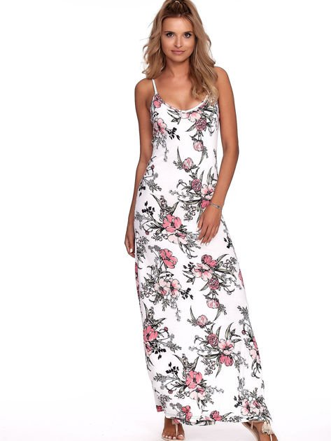 Biała kwiatowa sukienka maxi                              zdj.                              1