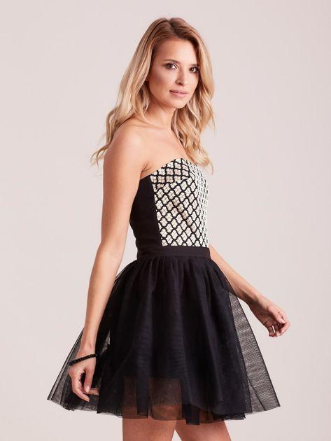 Czarna rozkloszowana sukienka gorsetowa                               zdj.                              3