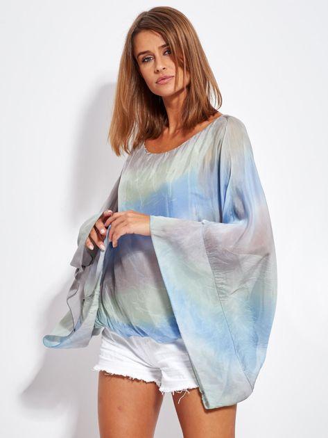 Niebiesko-szara zwiewna bluzka ombre                              zdj.                              1