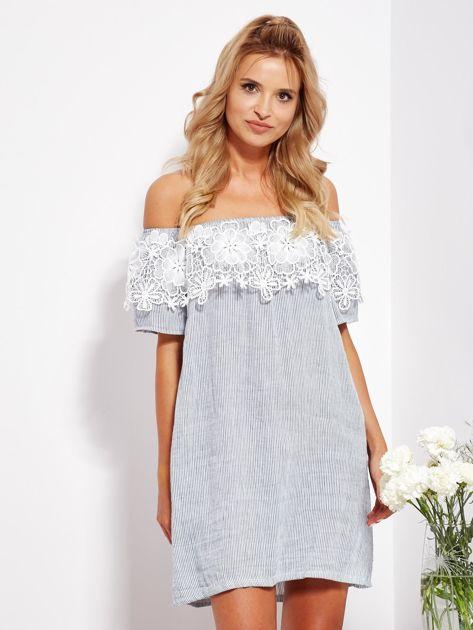 SCANDEZZA Biało-niebieska sukienka hiszpanka w cienkie paski                              zdj.                              1
