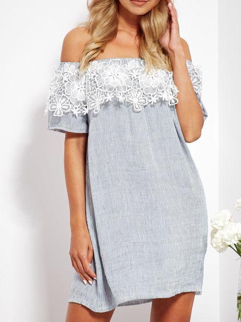 SCANDEZZA Biało-niebieska sukienka hiszpanka w cienkie paski                              zdj.                              2