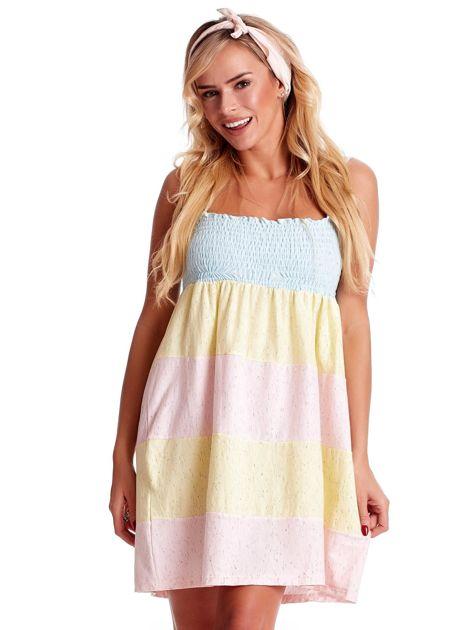 Sukienka damska na cienkich ramiączkach w kolorowe moduły                              zdj.                              1
