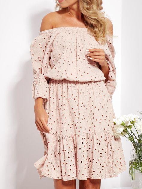 Beżowa rozkloszowana sukienka hiszpanka z haftem                              zdj.                              2