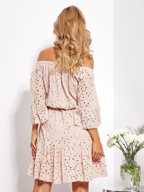 Beżowa rozkloszowana sukienka hiszpanka z haftem                              zdj.                              5