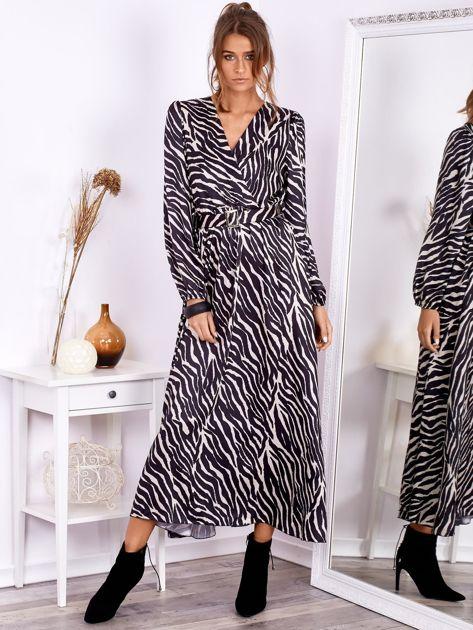 Czarno-beżowa sukienka maxi z nadrukiem pasków zebry                              zdj.                              5