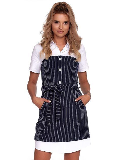 Granatowa sukienka w paski z kołnierzykiem                              zdj.                              1
