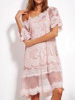 Pudroworóżowa luźna sukienka z oddzielną halką                                  zdj.                                  2