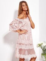 Pudroworóżowa luźna sukienka z oddzielną halką                                  zdj.                                  7