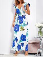 SCANDEZZA Biało-niebieska długa sukienka w kwiaty                                  zdj.                                  2