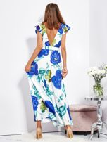 SCANDEZZA Biało-niebieska długa sukienka w kwiaty                                  zdj.                                  5