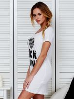 Koszula nocna biała bawełniana z nadrukiem                                  zdj.                                  4