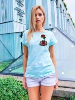 T-shirt damski turkusowy z naszywkami                                  zdj.                                  1