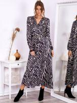 SCANDEZZA Czarno-beżowa sukienka maxi z nadrukiem pasków zebry                                  zdj.                                  5
