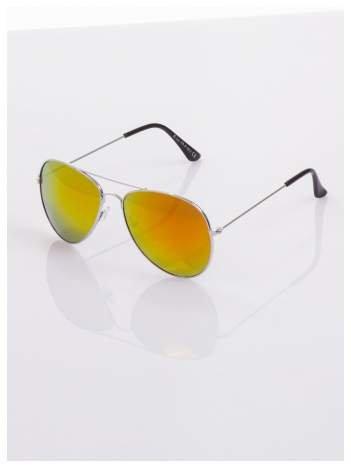 AVIATORY srebrne okulary pilotki lustrzanki czerwono/pomarańczowe
