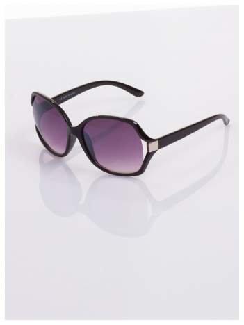 Czarne klasyczne okulary w sytlu MUCHY z ozdobnym srebrnym elementem
