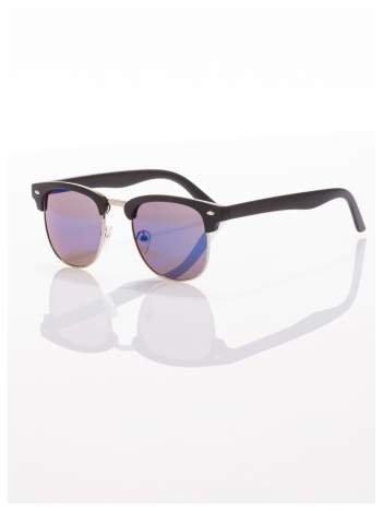 Czarne okulary przeciwsłoneczne lustrzanki niebieskie typu CLUBMASTER