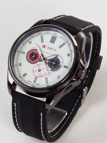 Nowoczesny i duży męski zegarek z 3 chronografami z biała tarczą