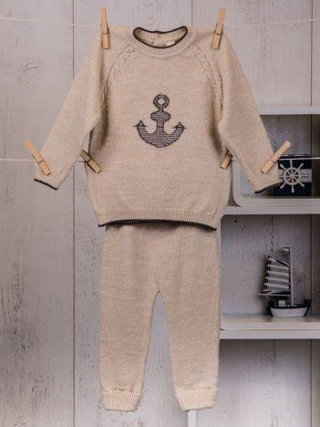 2-częściowy komplet niemowlęcy dla chłopca lub dziewczynki ze sweterkiem beżowy