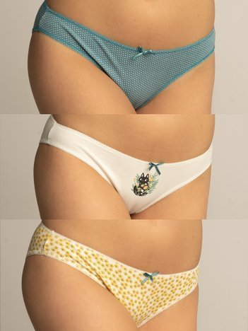 3-pak Bawełniane majtki damskie we wzory