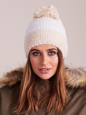 4F Biało-beżowa czapka zimowa z pomponem