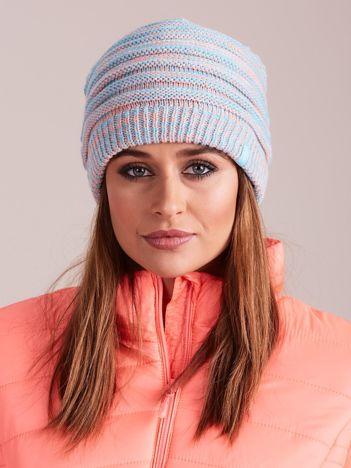4F Jasnoniebieska melanżowa czapka w paski