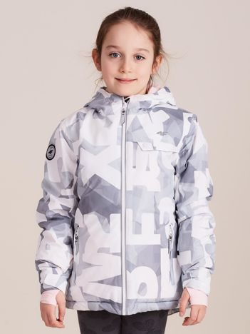 4F Wzorzysta kurtka narciarska dla dziewczynki