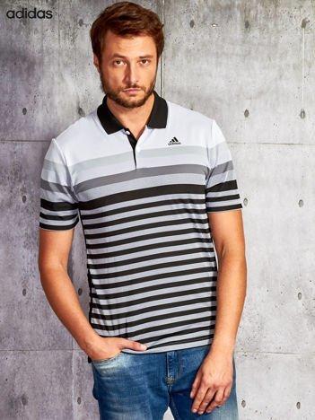 ADIDAS Czarna koszulka polo męska w paski