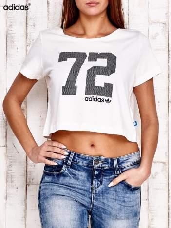 ADIDAS Ecru krótki t-shirt z nadrukiem