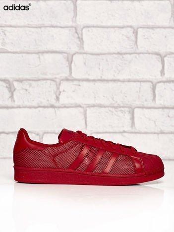 ADIDAS czerwone buty męskie Superstar Collegiate Red o dziurkowej fakturze