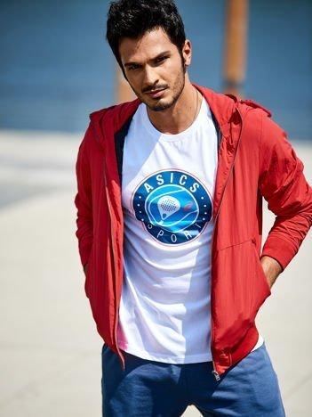 ASICS Biały sportowy t-shirt męski z okrągłym nadrukiem