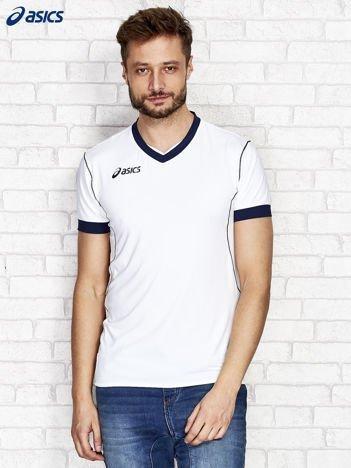 ASICS Biały t-shirt męski z kontrastową lamówką