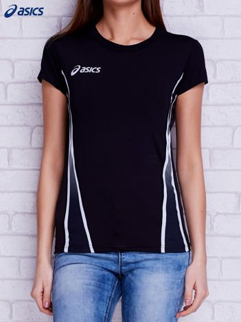 ASICS Czarny t-shirt z modelującymi przeszyciami