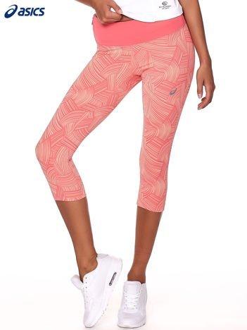 ASICS Różowo-brzoskwiniowe legginsy sportowe we wzory