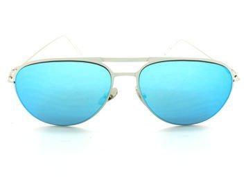 ASPEZO Okulary przeciwsłoneczne damskie błękitne BARCELONA. Etui skórzane, etui miękkie oraz ściereczka z mikrofibry w zestawie