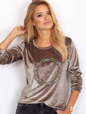 Aksamitna bluza z aplikacją beżowa