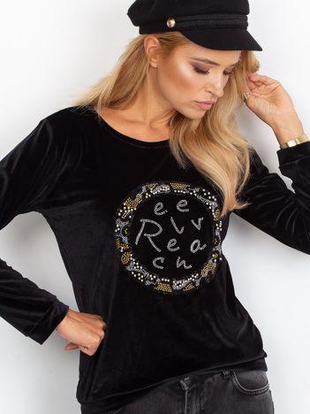 Aksamitna bluza z aplikacją czarna
