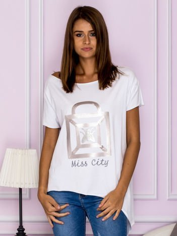 Asymetryczna bluzka z cekinową aplikacją biała