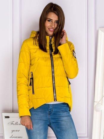 Asymetryczna kurtka zimowa z kapturem żółta