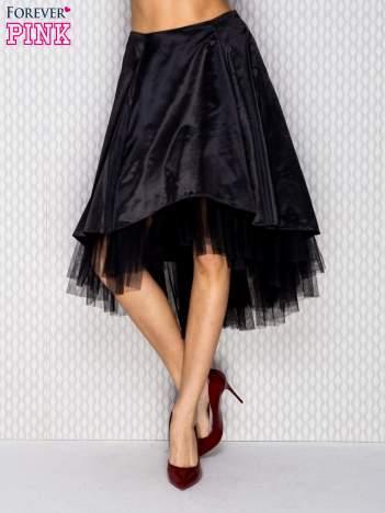 Atłasowa spódnica z tiulem czarna