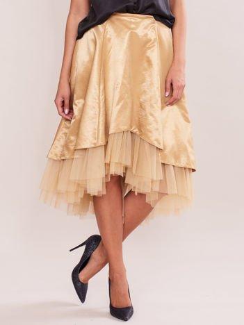 Atłasowa spódnica z tiulem złota