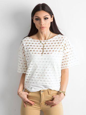 Ażurowa bluzka damska ecru