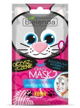 BIELENDA Crazy Mask Oczyszczająca maska w płacie KOTEK 1 szt