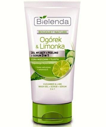 BIELENDA OGÓREK & LIMONKA 3w1 Żel myjący + Peeling + Serum 175 ml