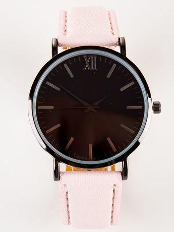 BLACK CLASSY rózowy zegarek damski z czarną tarczą